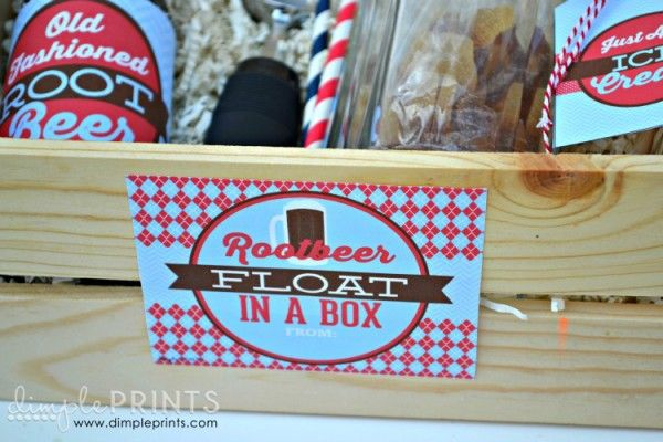 rootbeer float in a box (free printables) Love this idea for a wedding gift and include a gift card for them to purchase ice cream.