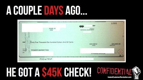 The 45k Check thanks from the application of Instant Customer Revolution on the market!