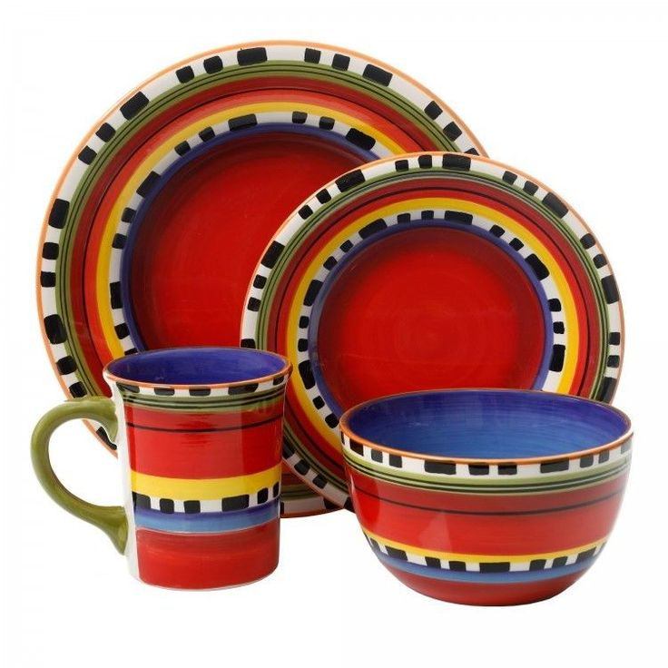 Round Dinnerware Set Multi Color 16 Piece Serves 4 Stoneware Dishes Bowls Plates #GibsonHome