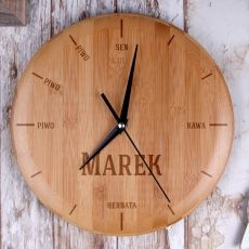Personalizowany zegar bambusowy PODZIAŁ DNIA idealny na urodziny