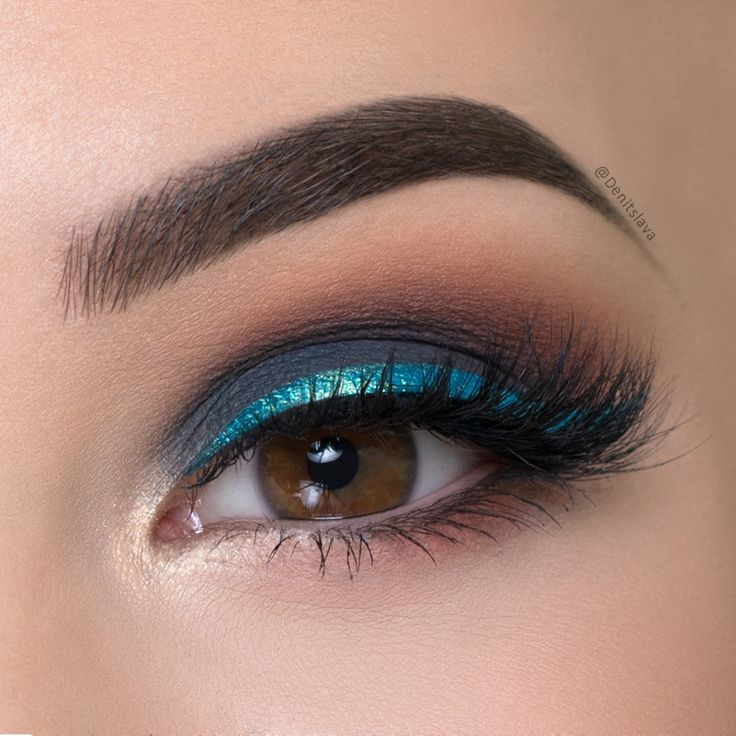 Dark Gray Smokey Eye Shimmery Blue Eyeliner Makeup