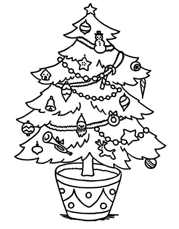 Christmas Sweet Christmas Tree On The Pot Coloring Page Kids
