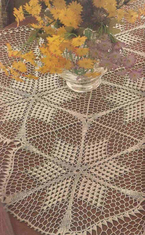 184 tapete con motivos de estrellas a crochet manteles - Esquema punto estrella crochet ...