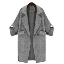 Manteau Femme Moulante Manches Roulées À Revers Grise Choies