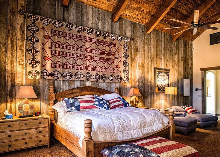 "242 Likes, 8 Comments - Trestlewood (@trestlewood1) on Instagram: ""This patriotic bedroom is both warm and cozy! The Barnwood paneling and Mushroomwood ceiling…"""