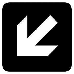 Left and Down Arrow sign
