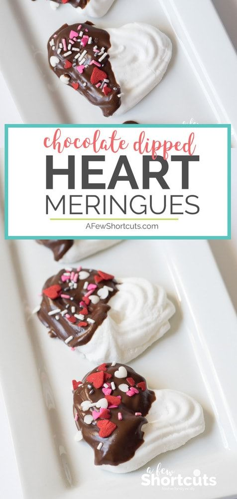 These light treats couldn't be more perfect for Valentines Day or to show your love. Make this easy Chocolate Dipped Heart Meringues Recipe #recipes #valentines #dessert