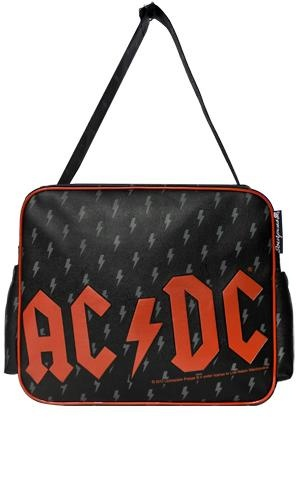 AC/DC vinyl Nappy Bag with matching change mat. Made by Sourpuss