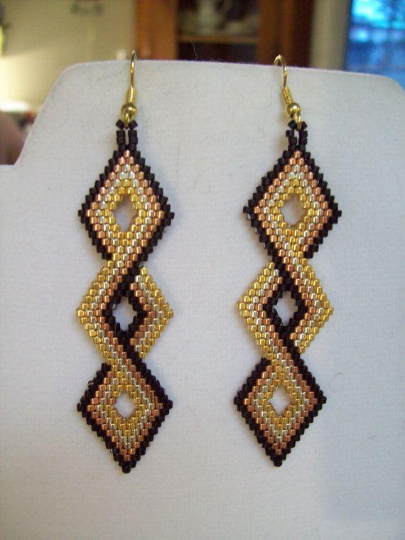 Native Amerian Beaded Twisted Black Gold by BeadedCreationsetc, $20.00
