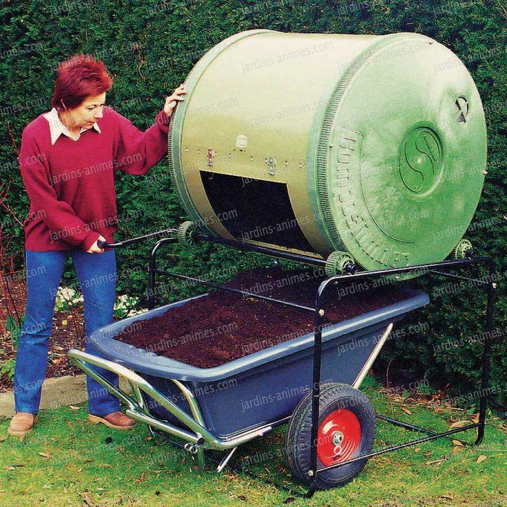 Composteur rotatif avec tambour et manivelle, simple ouverture. Avec le ComposTumbler, le composteur rotatif, faites votre compost en 4 semaines...