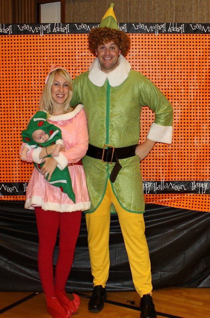 Great family costume for Halloween or Christmas! Christmas Tree, Jovie, and Buddy the Elf!