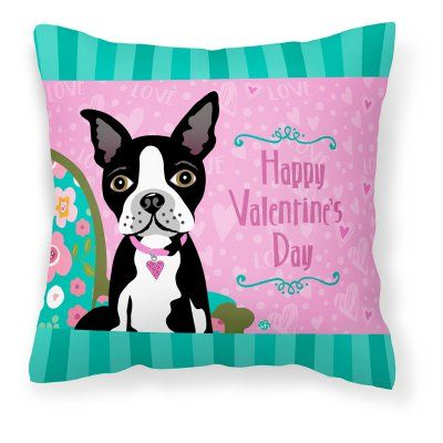 Carolines Treasures Happy Valentines Day Boston Terrier Decorative Outdoor Pillow - VHA3001PW1414