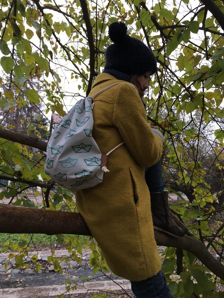 Hepphabit water repellent block printed backpack