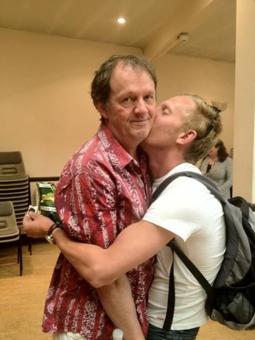 """Kevin Whately and Laurence Fox-Detectives in PBS's Lewis. Looking for pictures of them and what can I say? These turn up. He's clingy. lol. But I love Kevins face. He's like """"God, really? Again?"""" *embarrassed* lol I love these two!"""