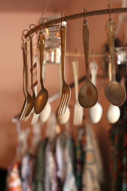 Rustic Fork  Spoon Tea Light Chandelier-Rustic, Fork, Spoon, Tea, Light, Chandelier, home, decor,