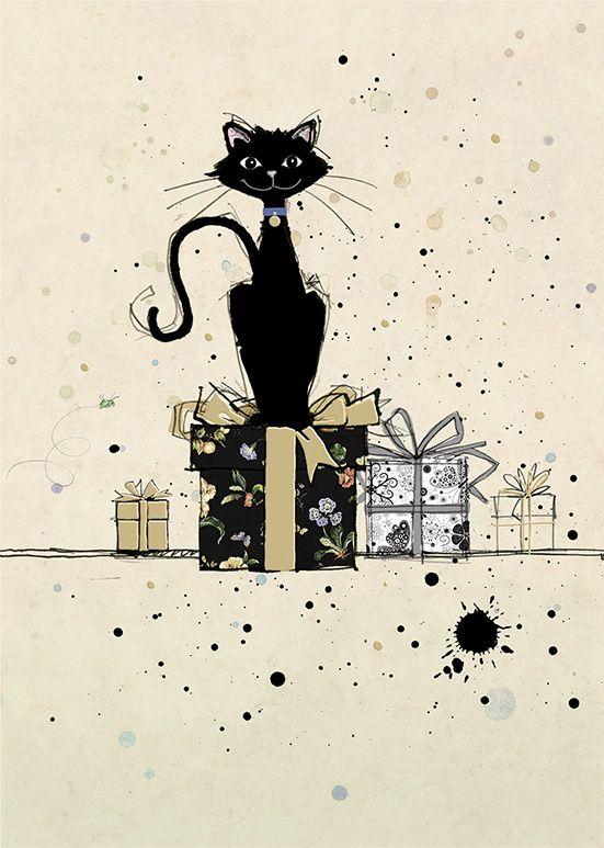 Открытках, открытки с черной кошкой