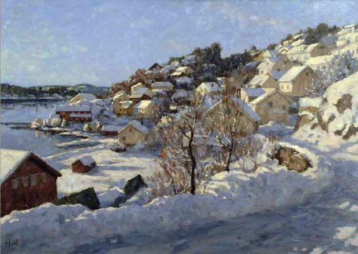 Tore Juell (b.1942) - Vinterettermiddag, Tallashavn.