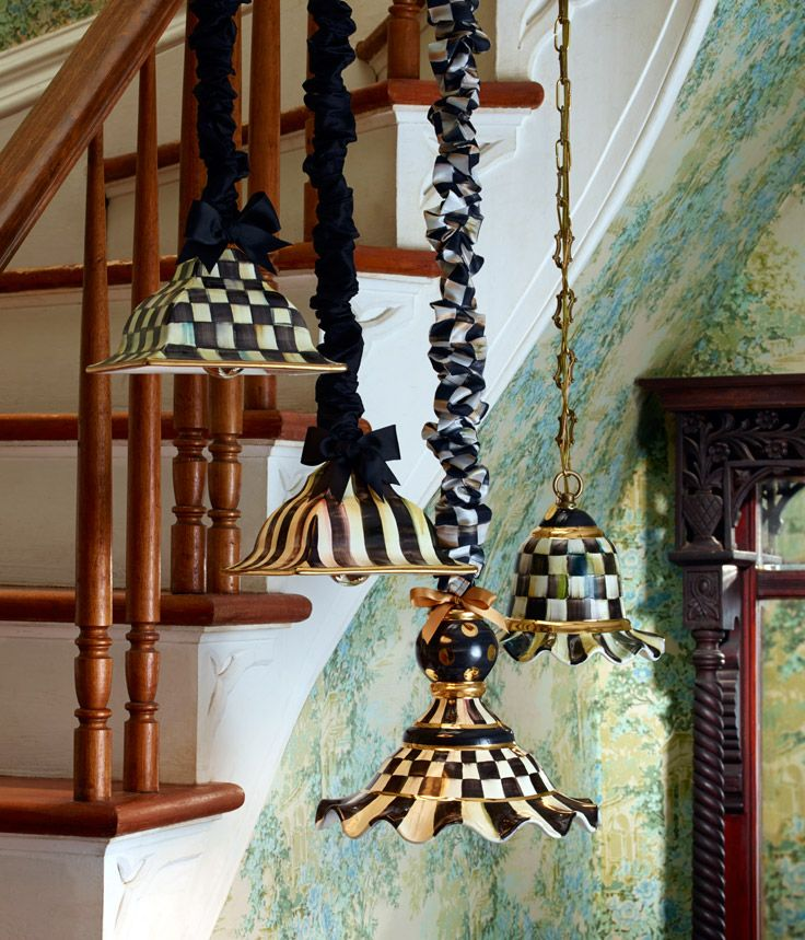 Courtly Check hanging lamps in several shapes and sizes...but what about the lamp cord cover! LOVE!