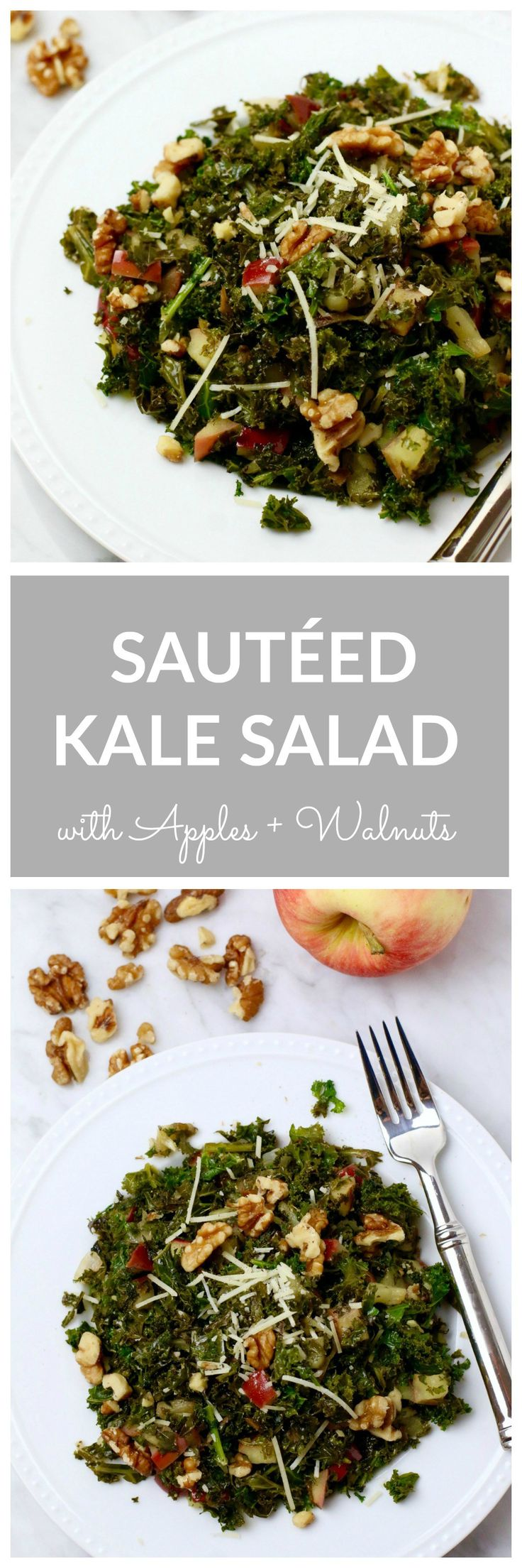 Sautéed Kale Salad with apples and walnuts. A delicious warm fall salad that is perfect for cold weather. Packed with nutritious ingredients like kale, walnuts, and extra virgin olive oil. Quick and e (Fall Recipes Healthy)