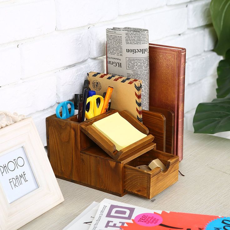 Amazon.com : Rustic Wood Desktop Office Supplies Storage Organizer / Mail Sorter / Post It Note Memo Pad Holder - MyGift : Office Products