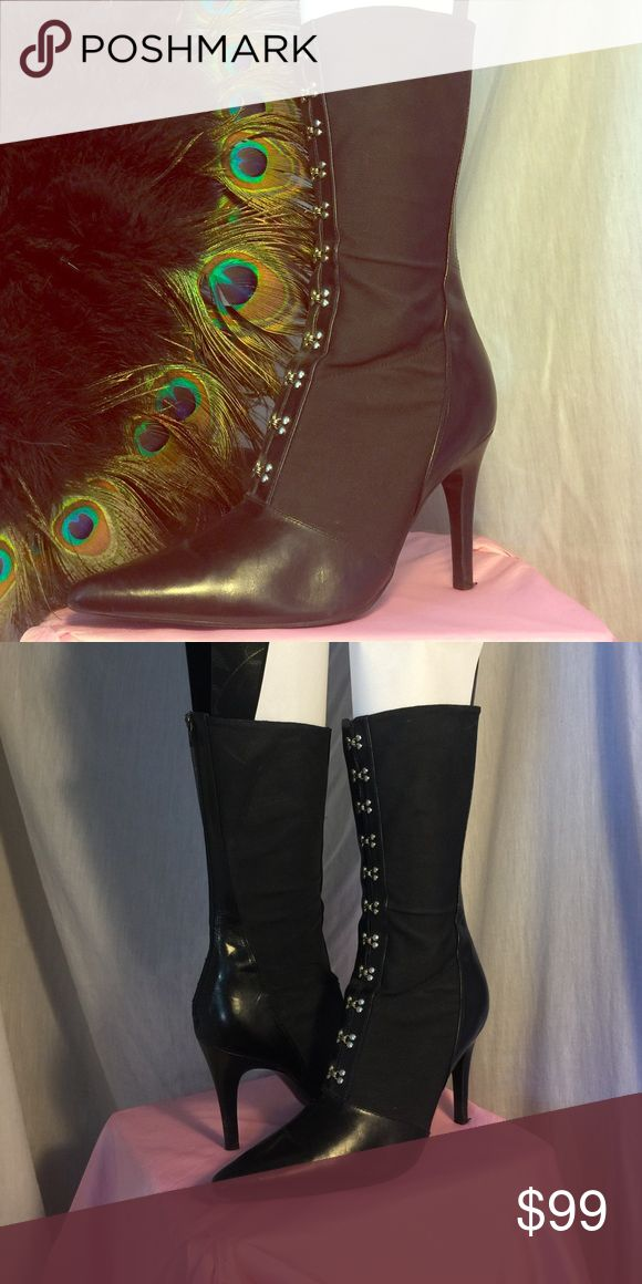 Vintage Black Vamp Stiletto Boots Carlos by Carlos Santana 'Ovation' boots with clasps in the front, zip up in the back. Theses fabric (feels like elastic) have black leather trim/toe and would be great for vintage outfits or cosplay. In awesome condition. Carlos Santana Shoes Heeled Boots
