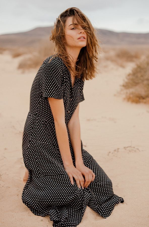 Pins & Needles Polka Dot Midi Shirt Dress | Urban Outfitters | Women's | Dresses & Jumpsuits #UOEurope #UrbanOutfittersEU
