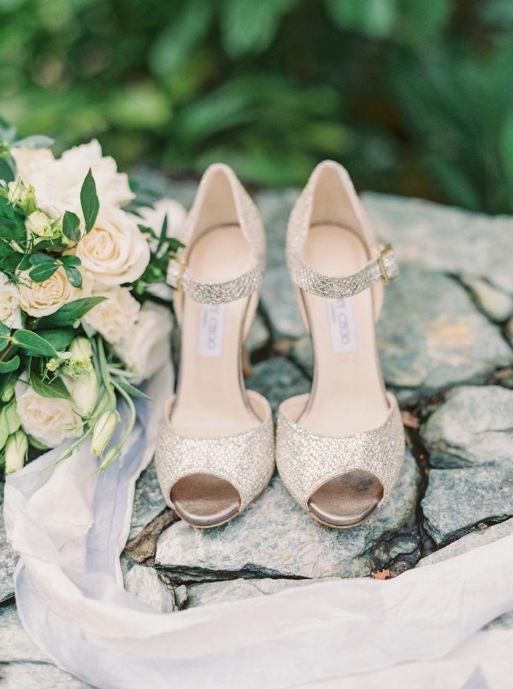 Metallic Jimmy Choo pumps: Photography : Lauren Fair Photography   Wedding Dress : Jenny Packham   Shoes : Jimmy Choo Read More on SMP: http://www.stylemepretty.com/destination-weddings/2016/05/26/whimsical-glam-honduras-destination-wedding-with-a-major-wow-factor/