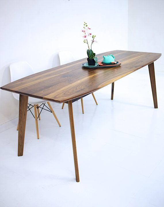 "Dining Table, Mid Century Modern, ""The Santa Monica Mixed"": Solid Black Walnut"