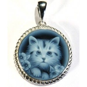 Kitty Cat, 14 or 20 mm only pendant, first quality engraved blue agate cameo, sterling silver setting in Venetian style 2 Sizes available    https://www.eredijovon.com/en/2259-cameo-blue-agate-pendant-16-kitty-cat-round.html    #bluecameo #italiancoraljewels #cammeiitaliani #cameos  #handcarvedcameos #cammeifattiamano #handmadecameos #antiquecameos #vintagecameos #cameolocket #cameonecklace #cameoring #cameobrooch