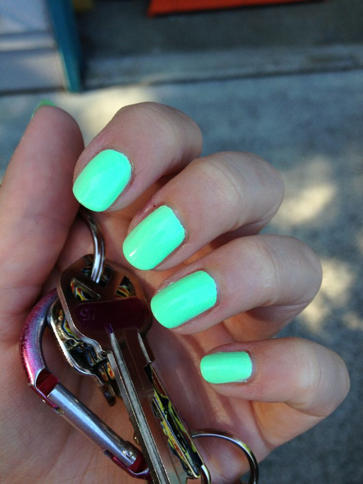 Neon mint green nails! :)
