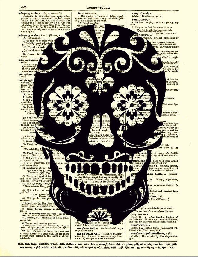 Sugar Skull Dictionary Art Print Black Sugar Skull, Dictionary Art Print, Wall Decor, Mixed Media, Mexican Skull. $10.00, via Etsy.