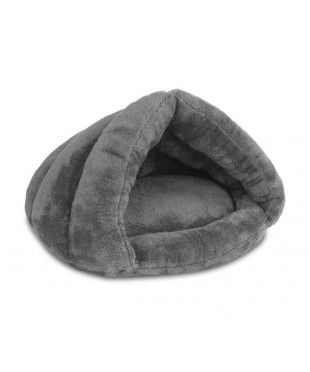 Plush Cave Style Pet Bed - Grey