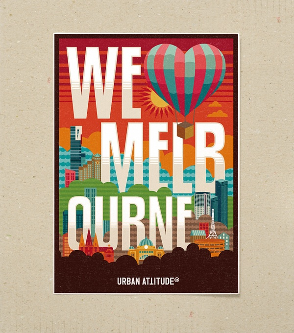 we heart melbourne by jimmy gleeson via behance #melbourne #poster #jimmygleeson