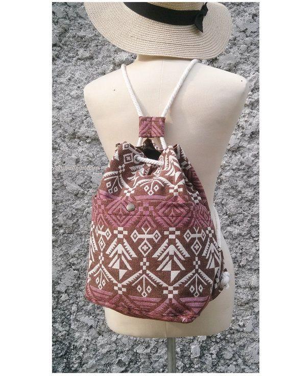 Drawstring Backpack Aztec Tapestry Boho Tribal by TribalSpiritShop