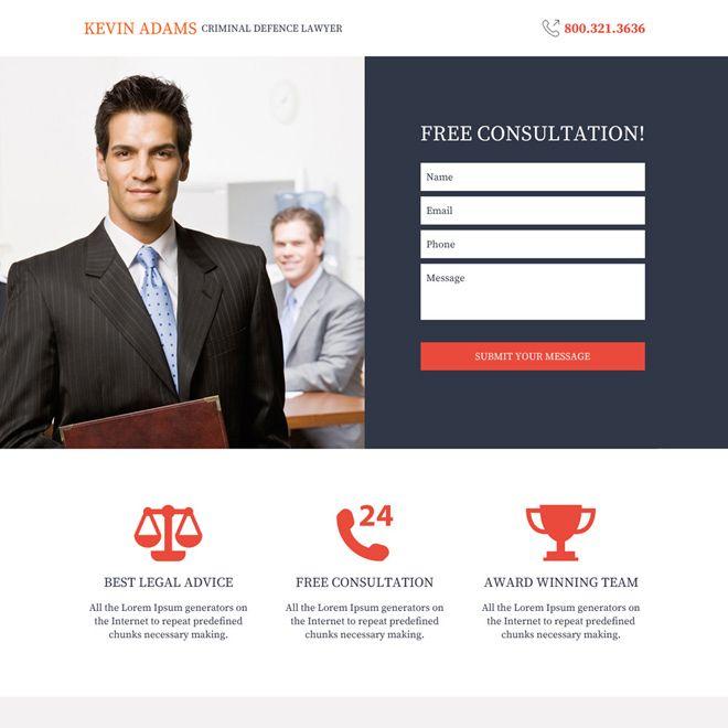 Download Criminal Defense Lawyer Responsive Landing Page Design At