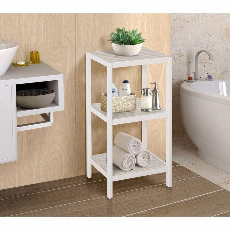 White Bamboo Spa 3 Shelf Tower Bathroom Storage Towel Linen Laundry Organizer