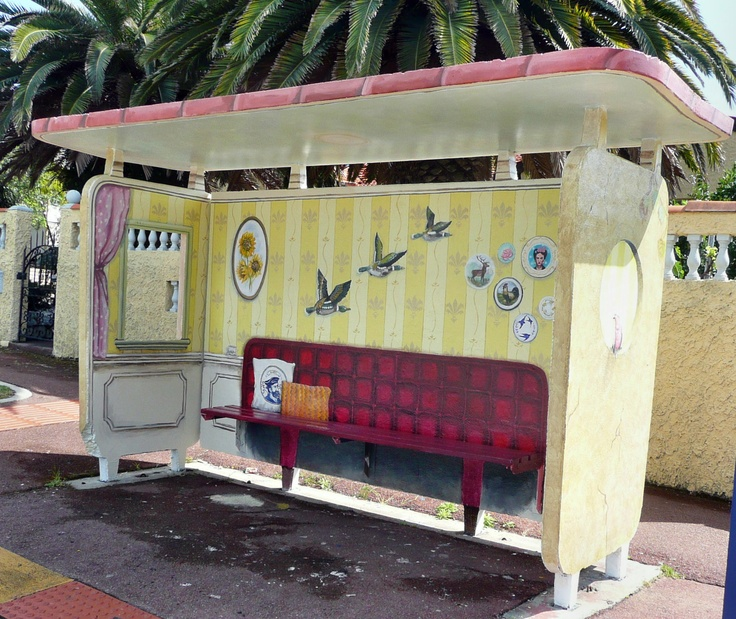 Bus shelter on Marion Street, East Fremantle, with a view of the inside of a room