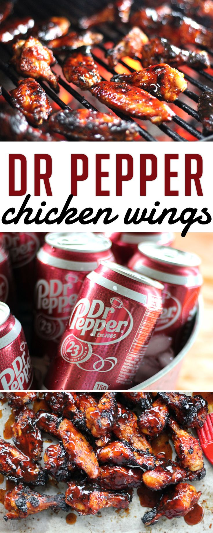 Our game day inspired recipe? Sweet, sticky and spicy chicken wings basted with an easy homemade Dr Pepper barbecue sauce. The unique and bold flavor of Dr Pepper creates a beautiful rich and flavorful wing sauce.  #ad #GrillGating #GrillGatingHero