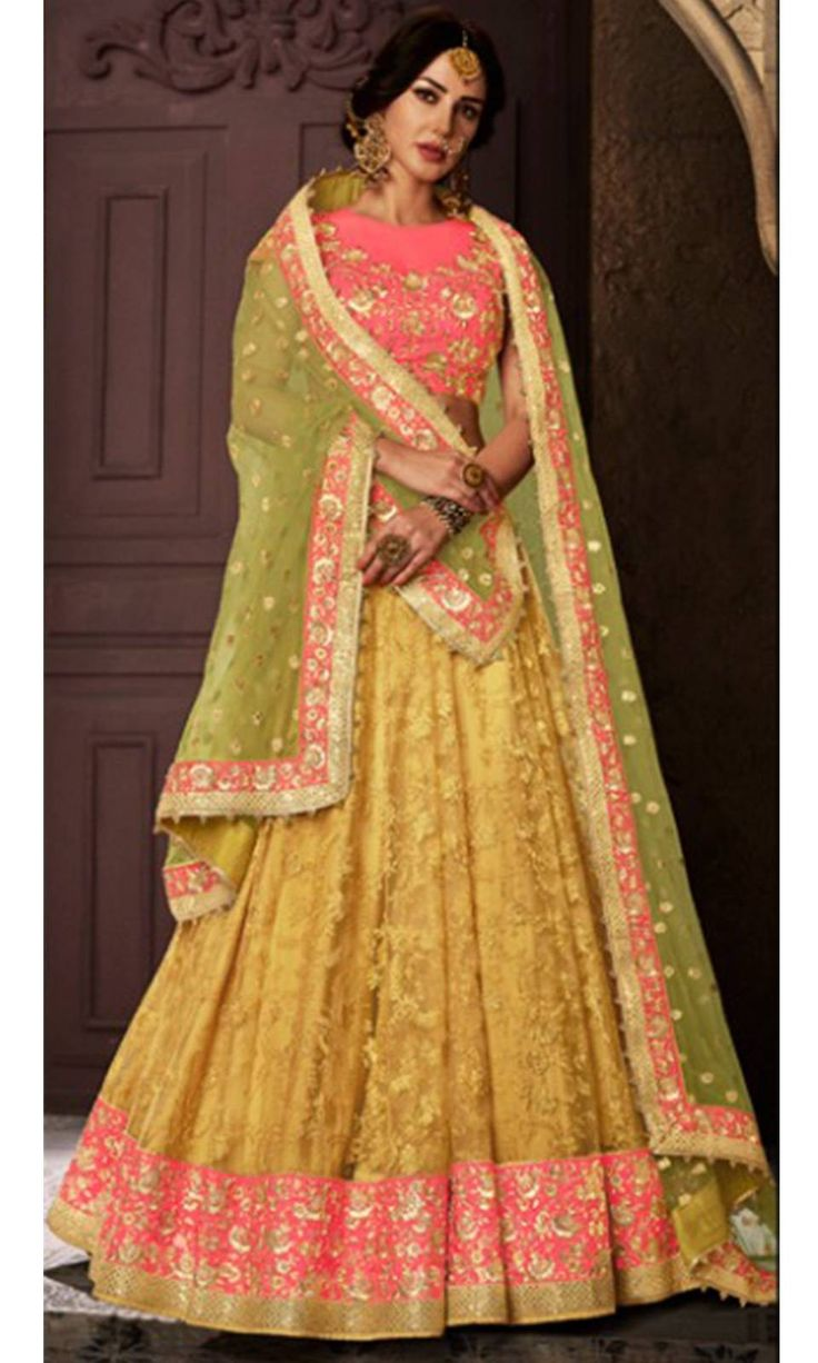 Shop this stunning #Mustard and #Pink #Party wear #Lengha (SKU Code : LEHJDSNK5112) Online at IshiMaya Fashion.