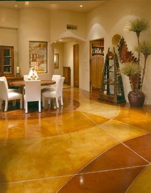 stained cement floors. easier. cheaper. looks good.
