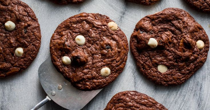 Brownielike and fudgy, these chocolate cookies are packed with white chocolate, nuts and dried cherries.