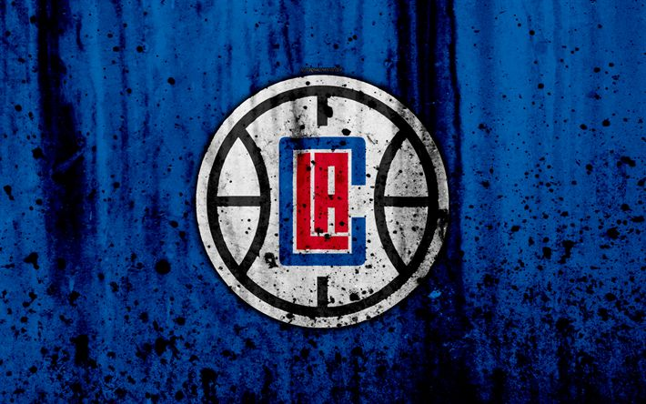 Download wallpapers 4k, Los Angeles Clippers, grunge, NBA, basketball club, LA Clippers, Western Conference, USA, emblem, stone texture, basketball, Pacific Division