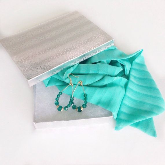 Coworker gifts for her under 25 Ready to ship Gift Boxed Gifts Ship Direct Holiday gifts, Spa Green Scarf with Earrings Set Gift idea by blingscarves. Explore more products on http://blingscarves.etsy.com