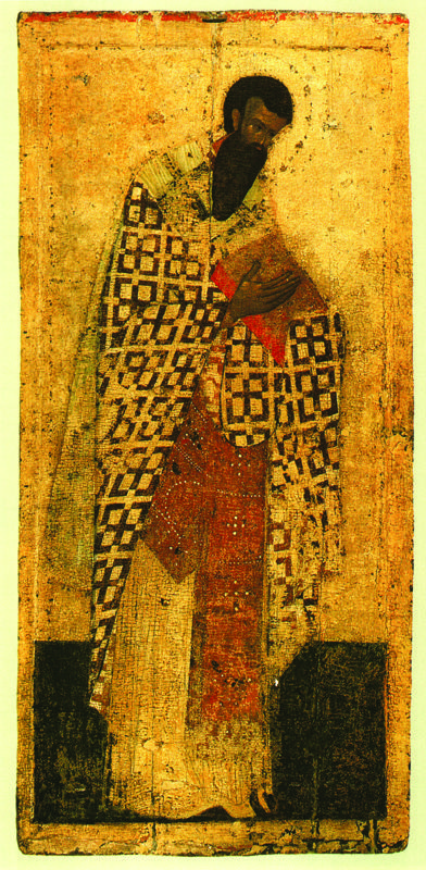 1405 г. Феофан Грек.  ВАСИЛИЙ ВЕЛИКИЙ.  Икона деисусного чина иконостаса..
