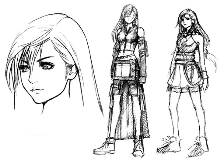 Tifa Lockhart Sketch - Final Fantasy VII: Advent Children | Tetsuya Nomura