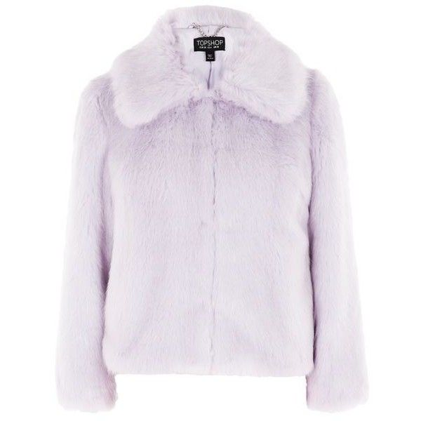 Topshop Claire Luxe Faux Fur Coat ($96) ❤ liked on Polyvore featuring outerwear, coats, topshop, fur, lilac, pastel, faux fur coat, fake fur coats, imitation fur coats and topshop coat