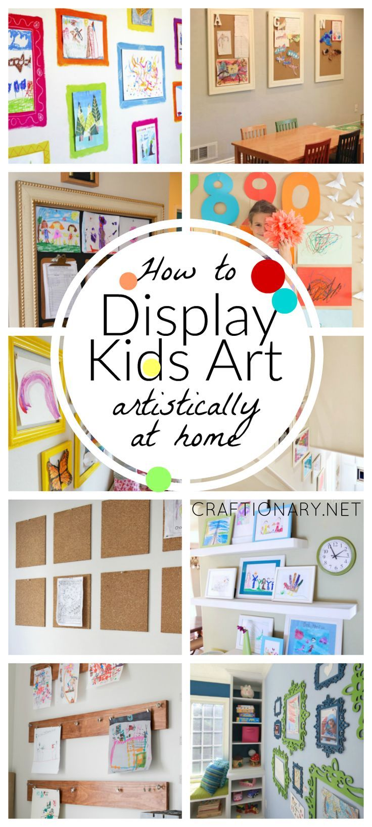 Great ideas for displaying kids art at home. I tend to throw away as much as I can, but I know the kids love to see their art hanging up in the house.