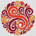 Decorative Motif pattern Multicolored decorative ornament of flowers in warm red, orange and yellow colors.  • Published 2 years ago  • 94×94 stitches  • 4 colors
