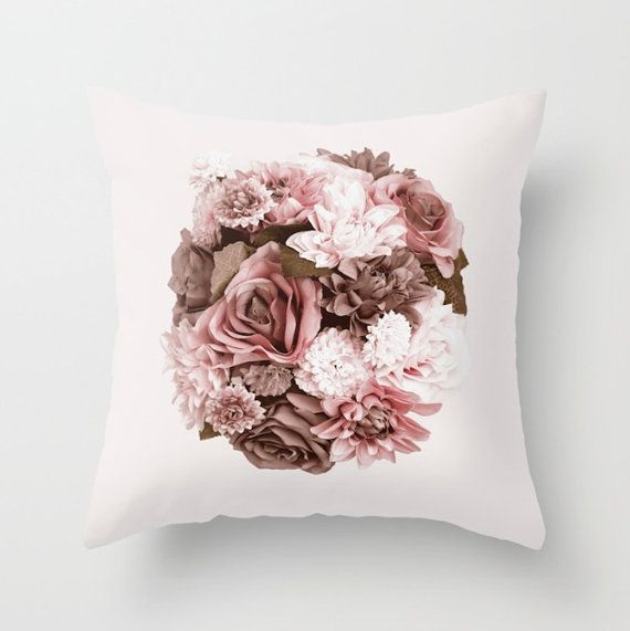 #vintage #flower #pillow #homedecor FLOWER PILLOW COVER Dusty Pink vintage style by UniqueArtHome
