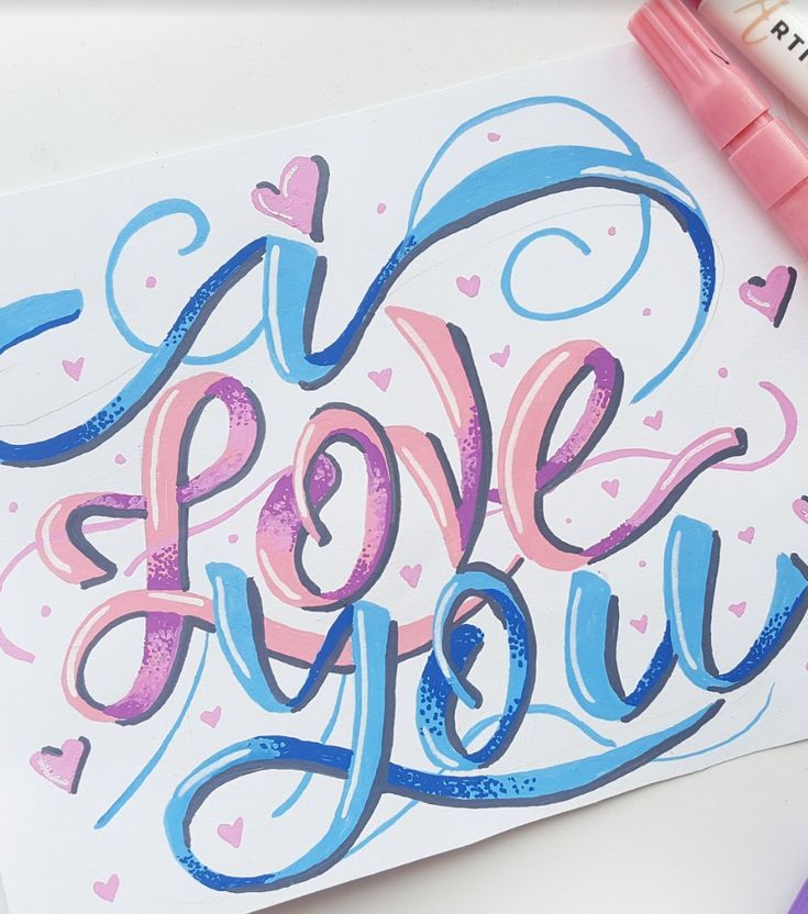 Hand lettering calligraphy ideas I love you quote